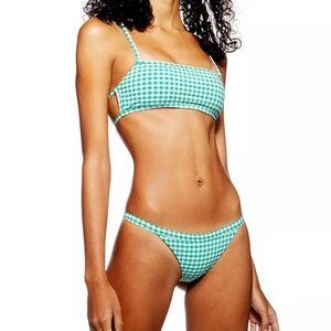 TOPSHOP Green Gingham Bikini Bottoms Only NWOT